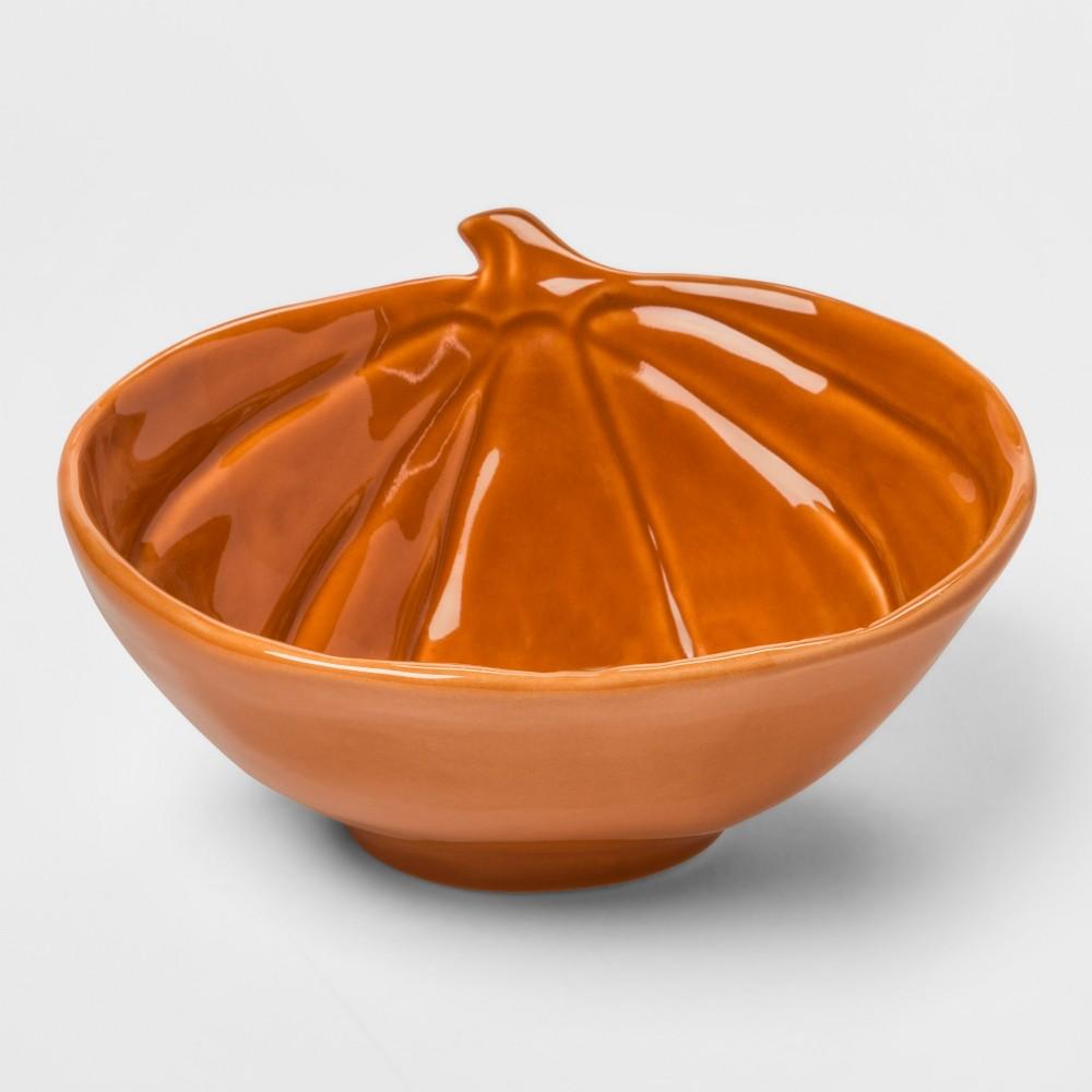 12.8oz Stoneware Pumpkin Candy Dish Orange - Threshold