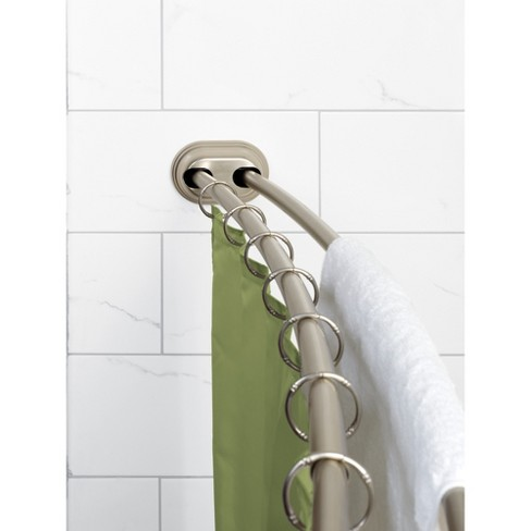 Neverrust Aluminum Double Curved Tension Shower Curtain Rod Brushed Nickel