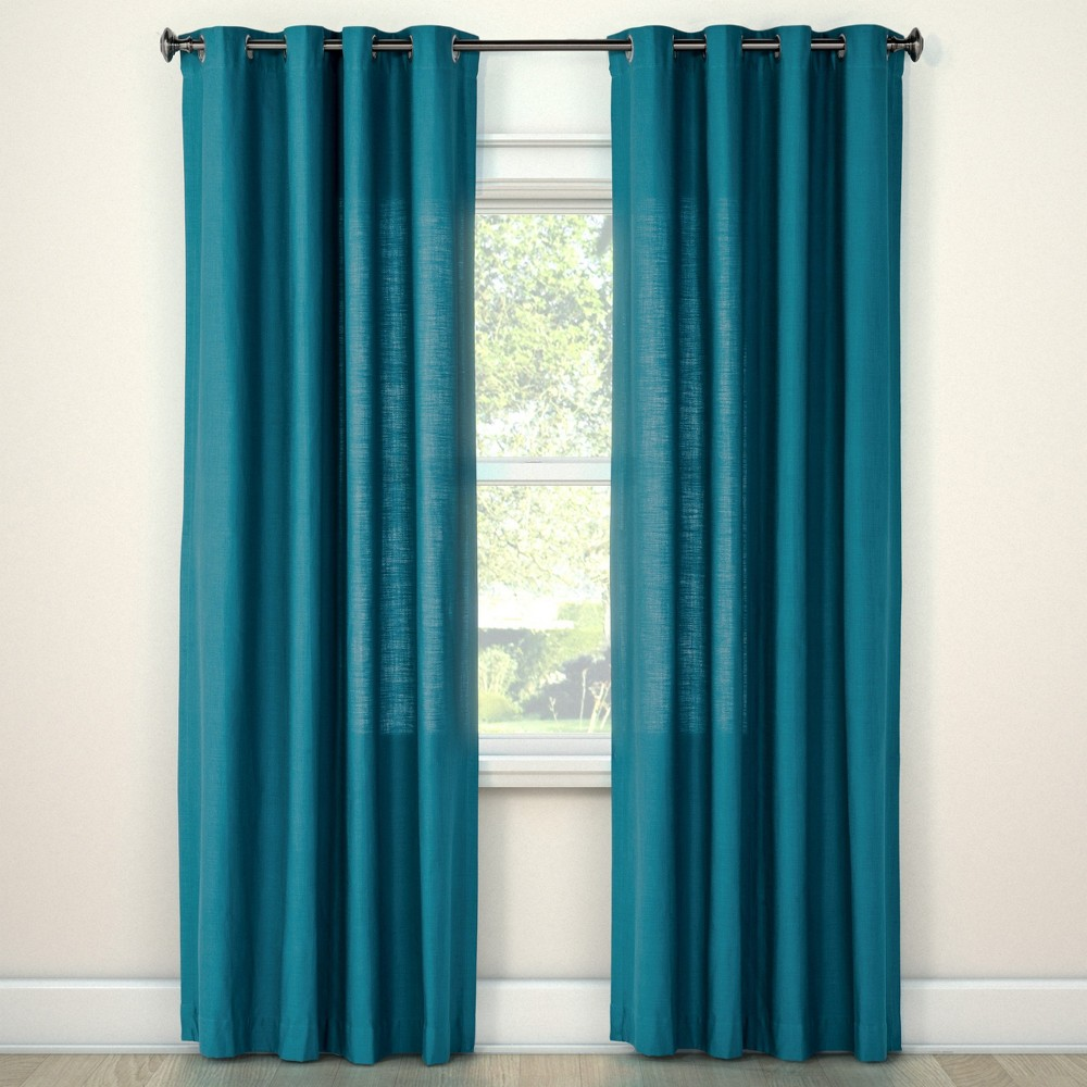 108x54 Natural Solid Light Filtering Curtain Panel Blue - Threshold was $31.99 now $15.99 (50.0% off)