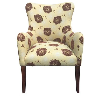 Patterned Fabric Arm Upholstered Accent Chair with Flared Legs Brown/Beige - The Urban Port