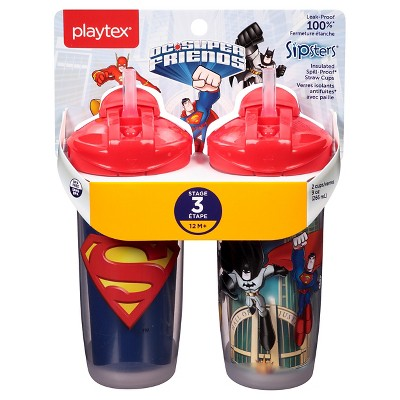 Playtex DC Super Friends Twist 'n Click Insulated Spout Sippy Cups 9oz 2pk