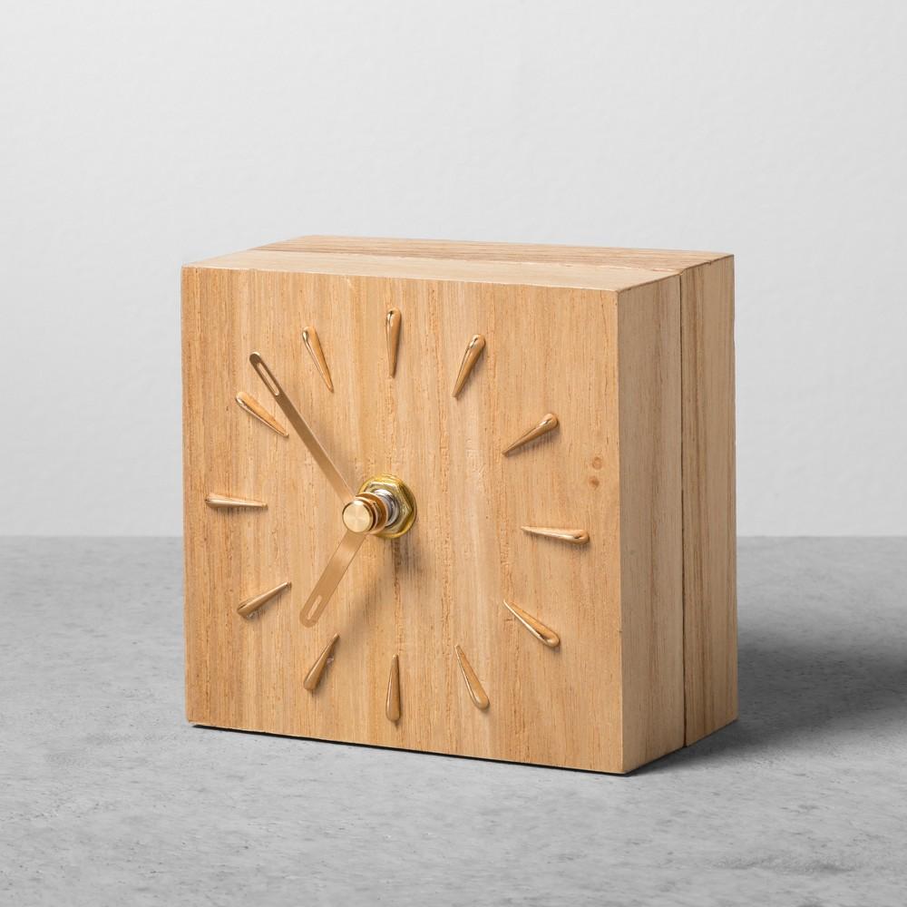 4 X 4 Woodgrain Desktop Clock - Hearth & Hand with Magnolia