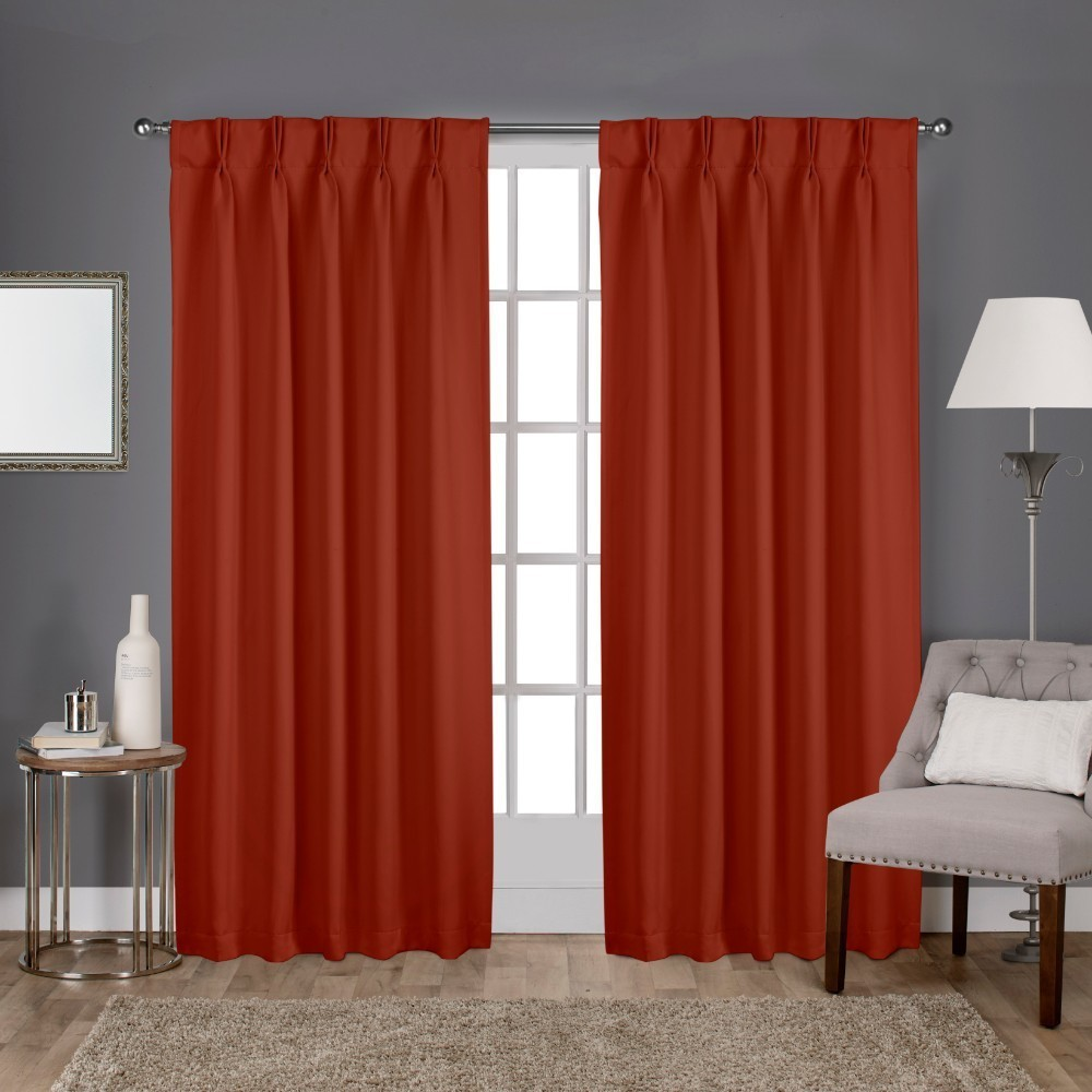 Sateen Pinch Pleat Woven Blackout Back Tab Window Curtain Panel Pair Mecca Orange 52x84 - Exclusive Home