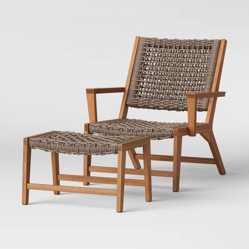 Lena Wood Rope Patio Chair With, Patio Chairs With Ottoman