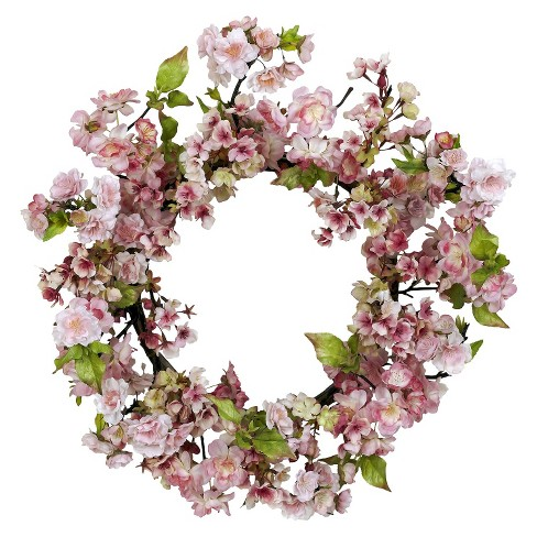 "Nearly Natural 24"" Cherry Blossom Wreath - image 1 of 1"