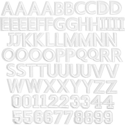 Bright Creations 82-Pack White Alphabet Letter and Number Iron On Patches for Applique, Sewing, Arts and Crafts, 1 In