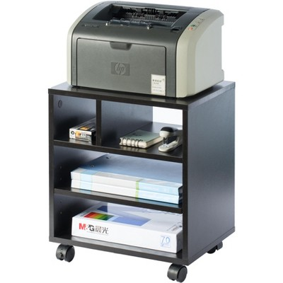 Basicwise Wooden Office Storage Printer Stand with Wheels