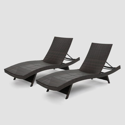 Salem 2pk Wicker Adjustable Chaise Lounge Chair - Brown - Christopher Knight Home