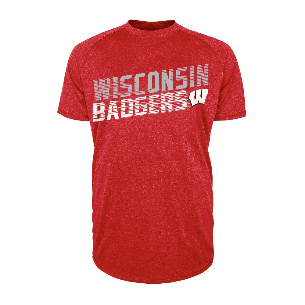 Wisconsin Badgers Men's Short Sleeve Raglan Performance T-Shirt - XL, Multicolored