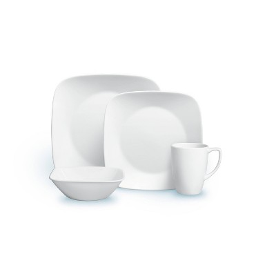 Corelle Square 16pc Vitrelle Dinnerware Set Pure White