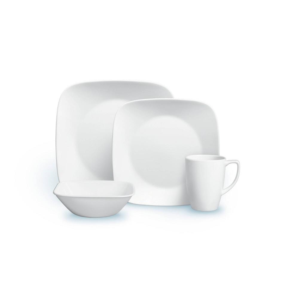 Corelle Square 16pc Vitrelle Dinnerware Set Pure White