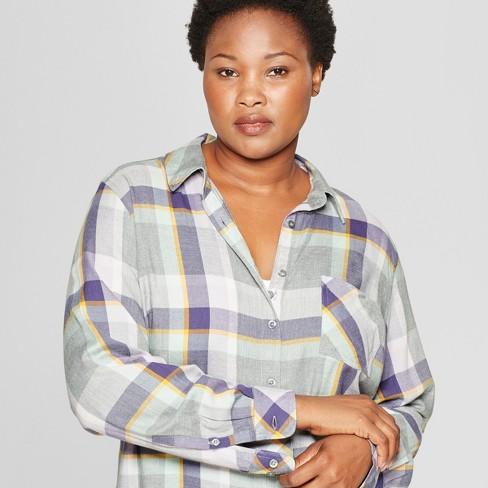 215bcdc7670cb6 Women s Plus Size Plaid No Gap Button-Down Long Sleeve Shirt - Ava   Viv™  Lavender