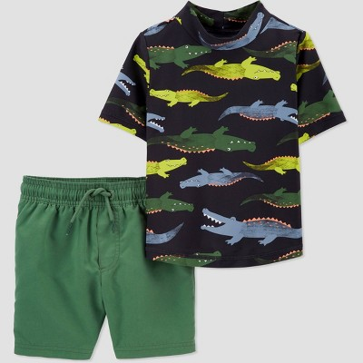 Toddler Boys' 2pc Alligator Short Sleeve Rash Guard Set - Just One You® made by carter's Green