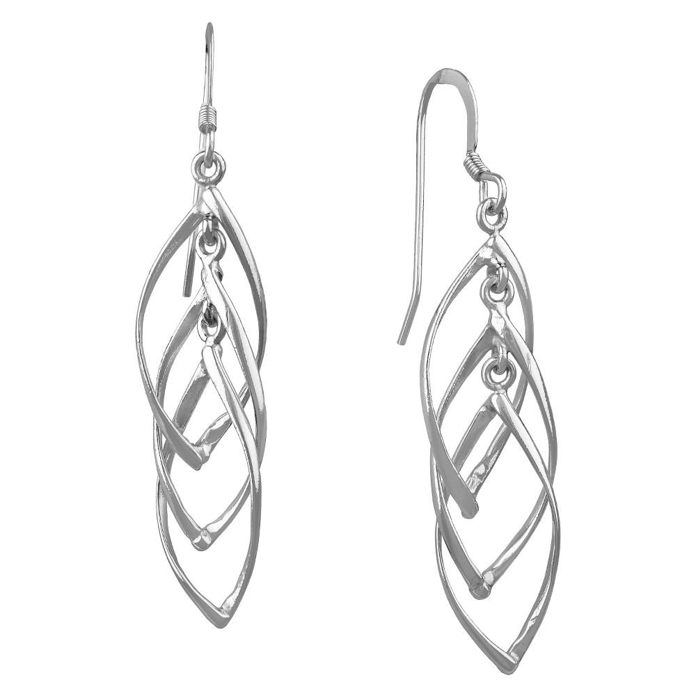 Women's Dangle Drop Earring Sterling Silver Twisted Interlocking - Silver