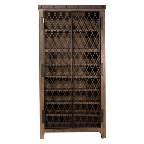 Jennings Tall Wine Cabinet Wood Metal Distressed Walnut Finished