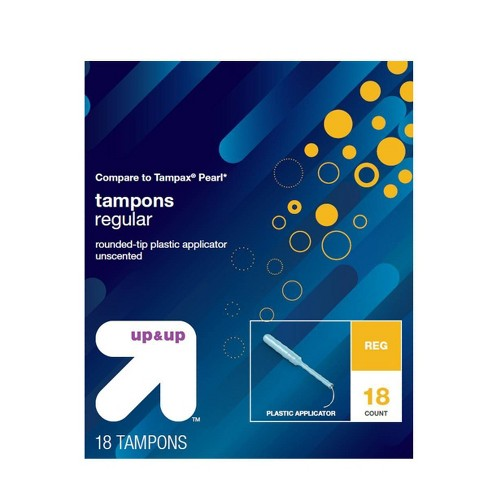 Rounded-Tip Plastic Applicator Unscented Regular Absorbency Tampons - 18ct - Up&Up™ - image 1 of 1
