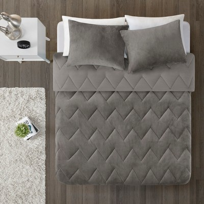 3pc Full/Queen Jasper Chevron Reversible Comforter Mini Set Gray