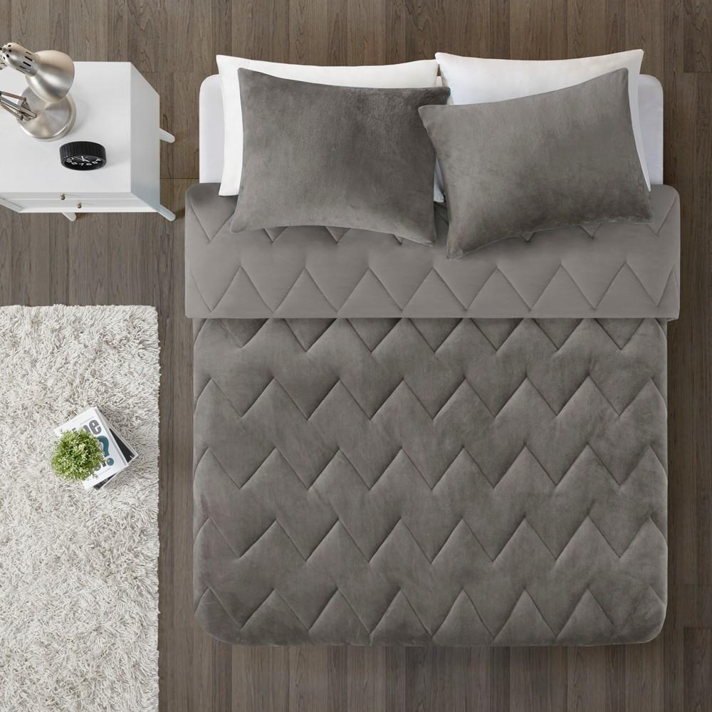 2pc Twin/Twin XL Jasper Chevron Reversible Comforter Mini Set Gray
