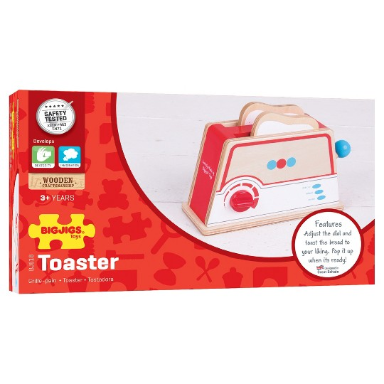 Bigjigs Toys Toaster Wooden Role Play Toy image number null