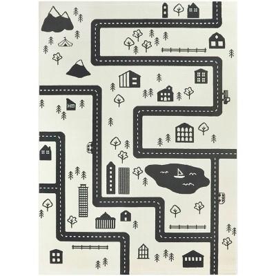 "5'2""x7' Roadmap Black/White Rug - Balta Rugs"