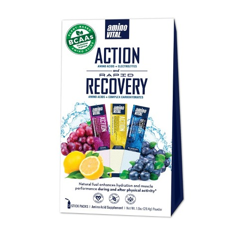 Amino VITAL Action & Rapid Recovery Drink Mix Sampler Box - Grape, Lemon, Blueberry - 1oz/3ct - image 1 of 1
