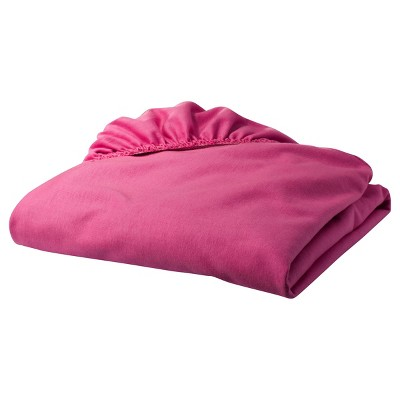 TL Care Jersey Cotton Fitted Crib Sheet - Fushia