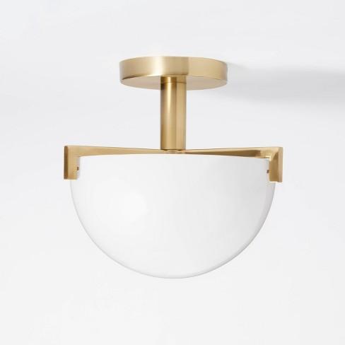 Milk Glass Dome Flushmount Ceiling Light White - Threshold™ designed with Studio McGee - image 1 of 4