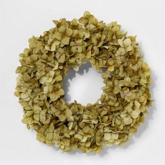 "21"" Artificial Hydrangea Flower Wreath Green - Threshold™"