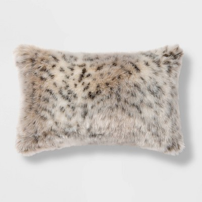 Oblong Faux Fur Decorative throw Pillow Animal Print - Threshold™