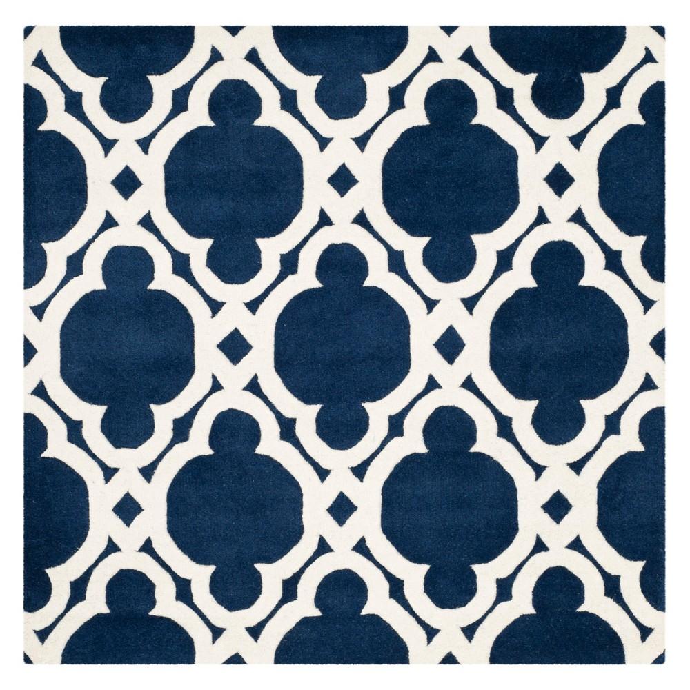 5'X5' Quatrefoil Design Tufted Square Area Rug Dark Blue/Ivory - Safavieh
