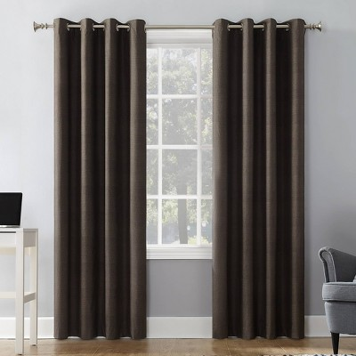"63""x50"" Duran Thermal Insulated 100% Blackout Grommet Top Curtain Panel Walnut Brown - Sun Zero"