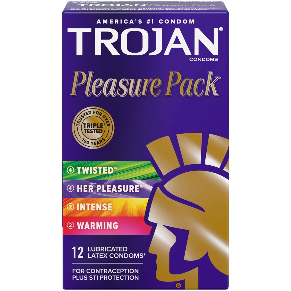 Trojan Pleasure Pack Lubricated Condoms 12ct
