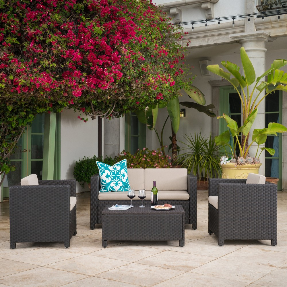 Puerta 4pc Wicker Chat Set & Cover - Dark Brown/Beige - Christopher Knight Home