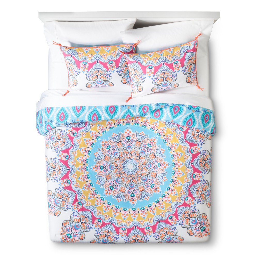Image of Blue&Pink Gypsy Rose Medallion Reversible Comforter Set (Full/Queen) 3pc - Boho Boutique