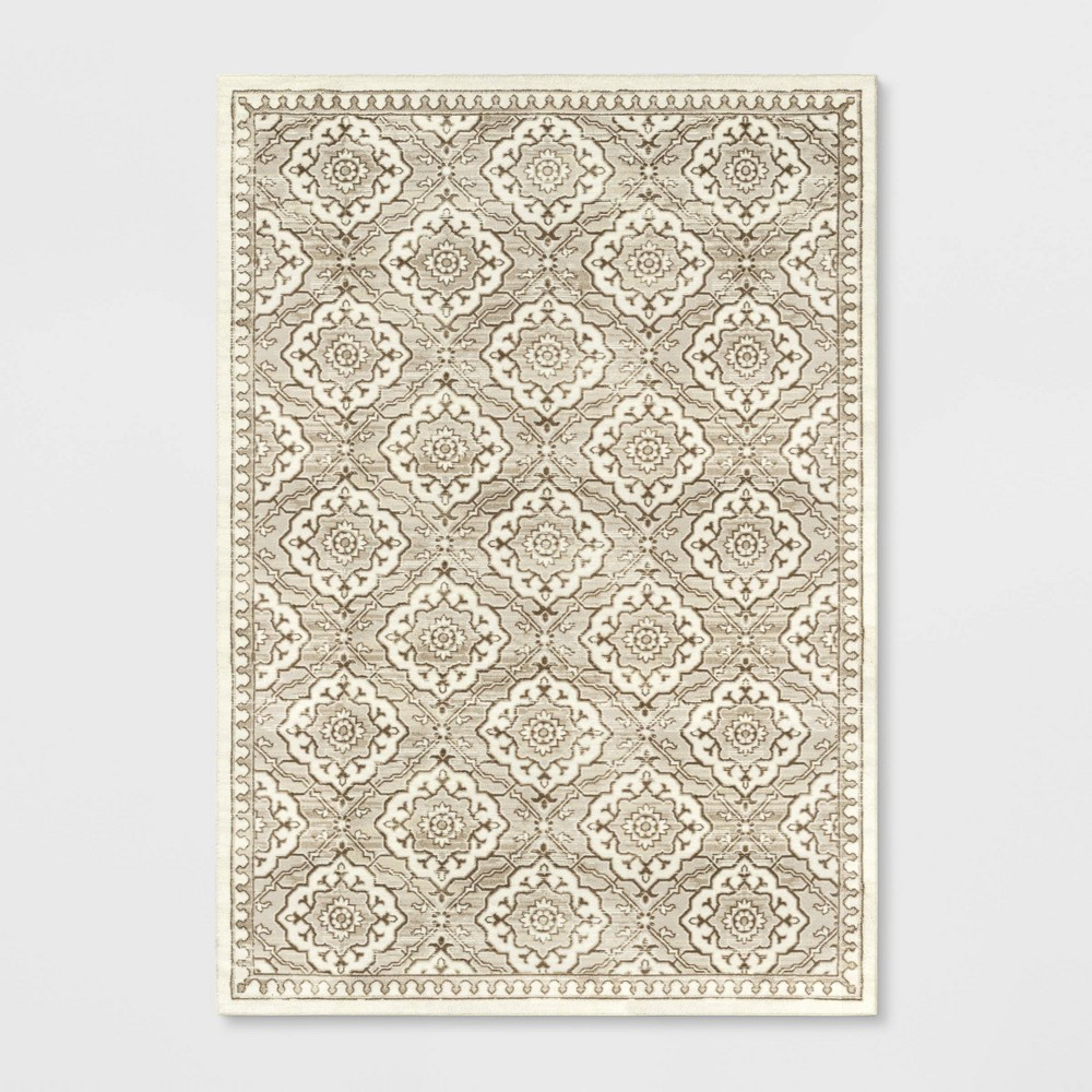 7 39 X10 39 Kenbridge Persian Border Tile Print Mushroom Rug Threshold 8482