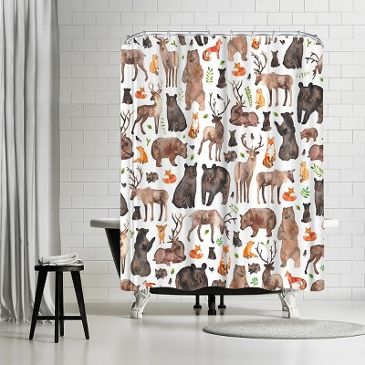 """Americanflat Woodland Animals by Elena Oneill 71"""" x 74"""" Shower Curtain"""