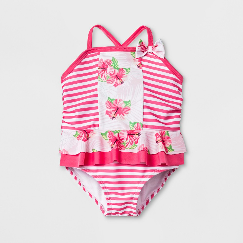 Sol Swim Baby Girls' Striped Floral Print One Piece Swimsuit with Skirt - Pink 24M