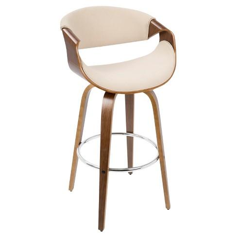 "30"" Curv-i Mid - Century Modern Barstool - Walnut Wood And Cream Fabric - Lumisource - image 1 of 4"