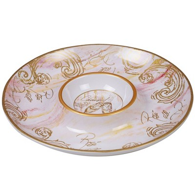 13.8  Earthenware Wine All the Time Chip & Dip Serving Platter White - Certified International