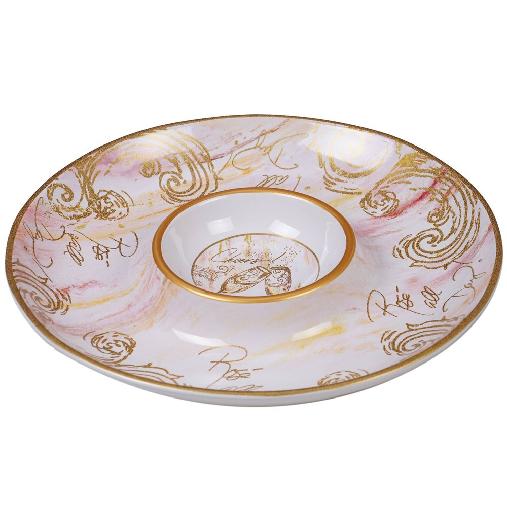 """Image of """"13.8"""""""" Earthenware Wine All the Time Chip & Dip Serving Platter White - Certified International, White Gold"""""""
