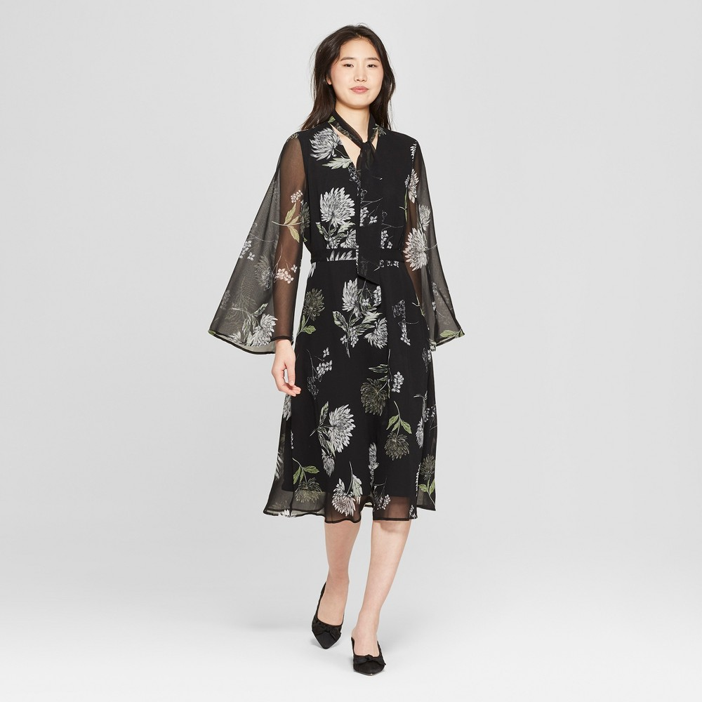 Women's Floral Print Long Sleeve Tie Neck Midi Dress - Who What Wear Black/Green L, Black/Green Floral