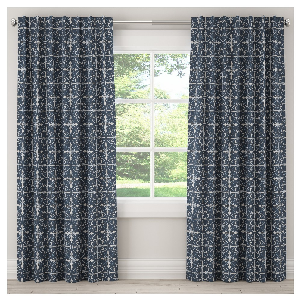 Blackout Paris Tile Curtain Panel Navy (Blue) (50