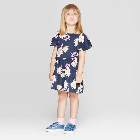 Toddler Girls' Floral Print A Line Dress - Cat & Jack™ Navy - image 1 of 3