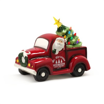 """Mr. Christmas Ceramic Truck with LED Christmas Tree Decoration - 14"""""""