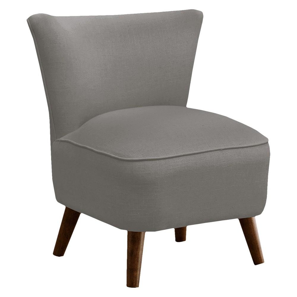 Skyline Custom Upholstered Mid Century Modern Armless Chair - Skyline Furniture, Linen Gray