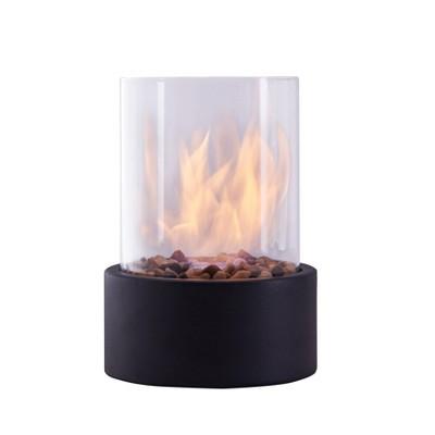"8.25""x11.375"" Ventless Smokeless Glass & Black Metal Column Tabletop Fire Pit - Dayna B."
