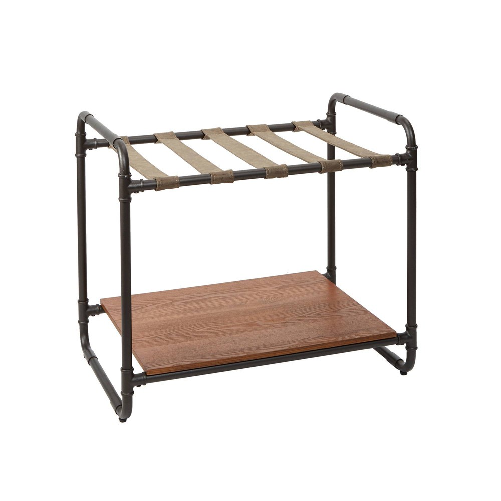 Image of Anderson Industrial Luggage Rack with Pipe Fittings Gunmetal - Silverwood, Grey