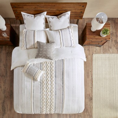 Full/Queen 3pc Imani Cotton Comforter Mini Set Ivory