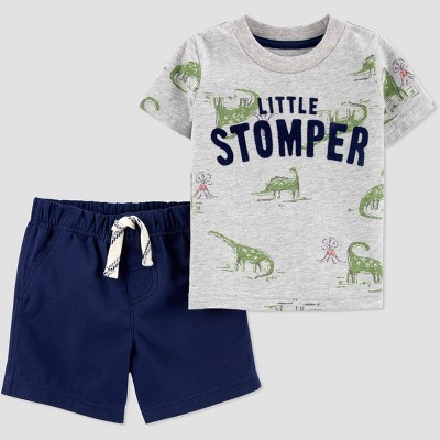 Baby Boys' 2pc Dino-Mite Top & Bottom Set - Just One You® made by carter's Gray 9M