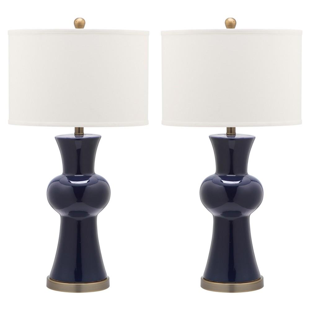 Best Online Lola Navy Blue Ceramic Column Table Lamp Set Of 2 Safavieh